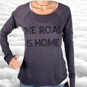 "Wildfox ""The Road Is Home"" casual raw Sweater/ Top"